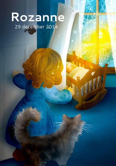 Geboortekaartje winter poster met wieg en poes, zus komt piepen