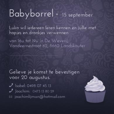 babyborrel uitnodiging: baby met sterretjes doeken