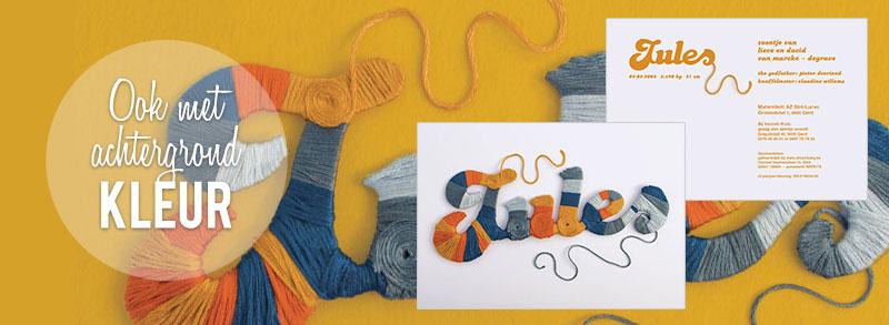 Warm geboortekaartje - De kleuren van de wol mag je zelf kiezen!