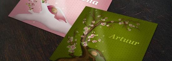 Geboortekaartje nieuw leven: sprookje levensboom bloesems