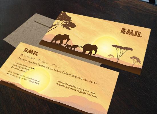 geboortekaartjes Mayim Thema afrika en reizen met olifanten gezin broertje zusje