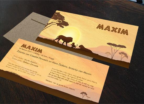 geboortekaartjes Maxim Thema afrika en reizen met leeuwen gezin broertje zusje