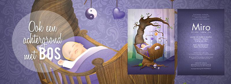 Geboortekaartje levensboom en wieg mobile vreugde, liefde, geluk