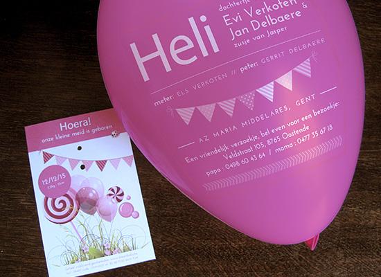 Geboortekaartje ballon - feeststemming, ballon opblazen, naam lezen.
