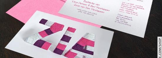 Geboortekaartje wol letters - zacht kaartje, kleuren wol zelf kiezen!
