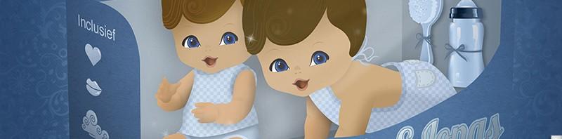 Geboortekaartje popje - kindje gekocht? nieuw uit de doos! tweelingen