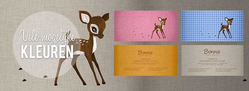Geboortekaartje hertje - Schattige - vele kleuren een ook als muursticker.