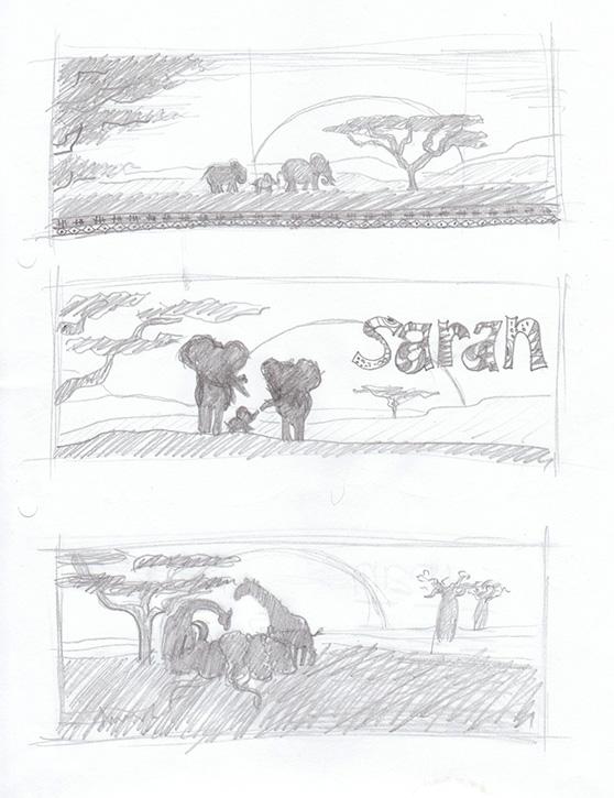 Afrika schetsen - familie olifanten en opgaande zon in de savanne.