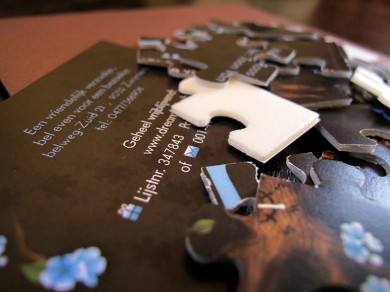 Levensboom geboortekaartje puzzel - stukje in de levenspuzzel