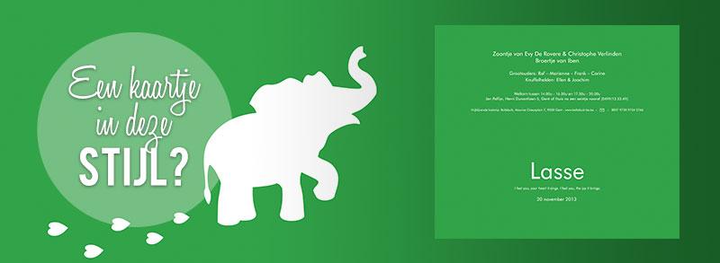 Geboortekaartje olifantje - groen geboortekaartje met een olifantje