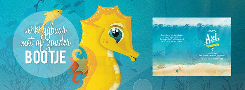 geboortekaartje zeepaardje - schattige - het mooiste diertje in de hele zee