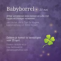 Geboortekaartje draakje: Schattig stoer kaartje, geluk klavertje vier.