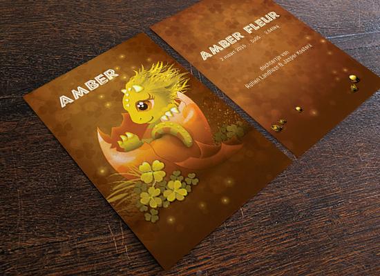 geboortekaartjes amber draakje goud geel eischat