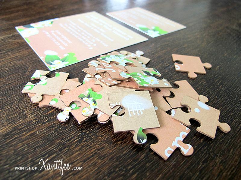 puzzel geboortekaartje met een illustratie naar keuze. Oosters kaartje.