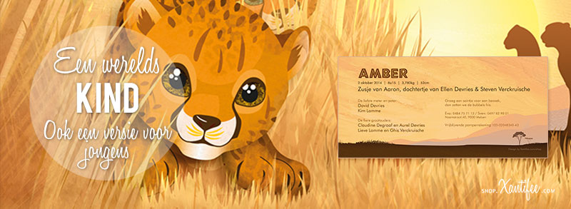 Geboortekaartje leeuw - schattig Afrikaans geboortekaartje cheetah familie