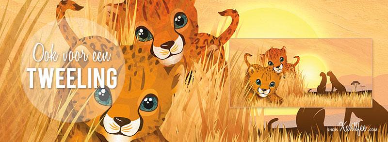 Geboortekaartje leeuw - schattig Afrikaans geboortekaartje cheetah familie tweeling