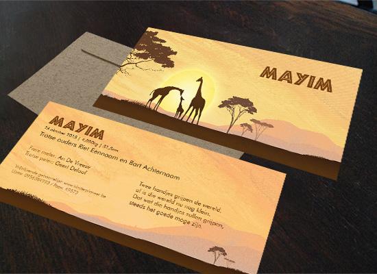 geboortekaartjes Mayim Thema afrika en reizen met giraffen gezin en koffer doopsuiker