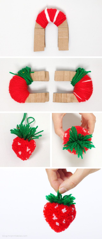 aardbeien pompom DIY doopsuiker inspiratie lente zomer baby kindjes xantifee