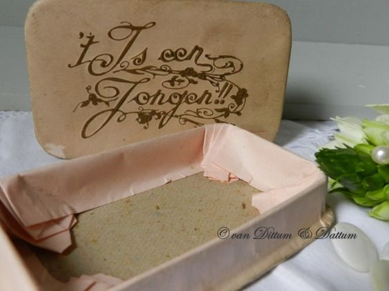 roze karton doopsuiker doosje jongen vintage xantifee