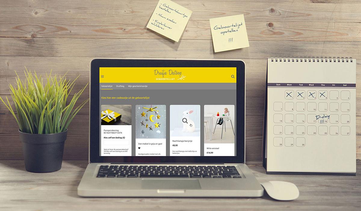 Homepage geboortelijst online tool persoonlijk verschillende winkels