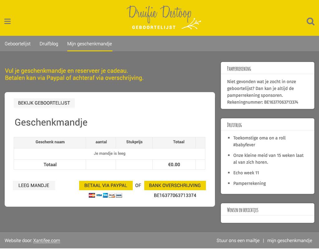 geboortelijst online tool verschillende winkels design geschenkmandje design geschenkmandje