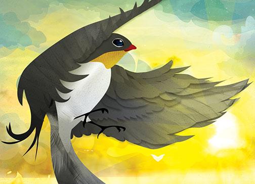 illustratie geboorte geboortekaartje vogel zwaluw zomer reizen wereldkaart xantifee