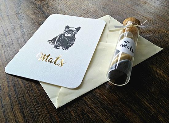 geboortekaartje mats beertje gouddruk foliedruk goud strak tekening pen